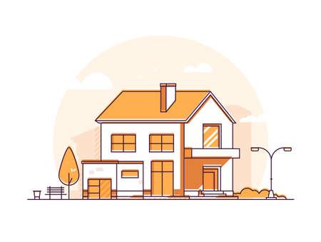 Cottage house - line illustration