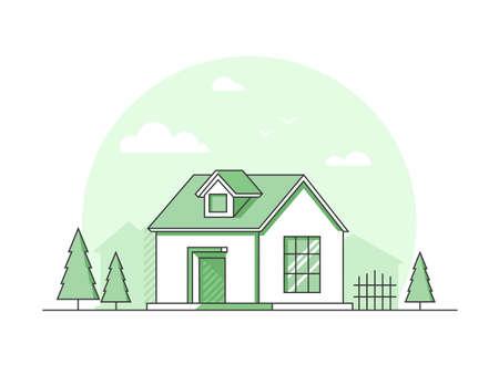 Farm house - modern thin line design style vector illustration