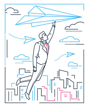 Businessman flying on a paper plane - line design style illustration on white background with silhouettes of clouds, city buildings. A young person dreaming, planning future, going towards the target