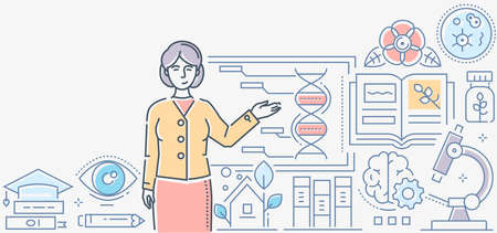 Biology lesson - colorful line design style illustration on white background. A composition with a female teacher standing at the board. Images of microscope, flasks, books, timer, pipette