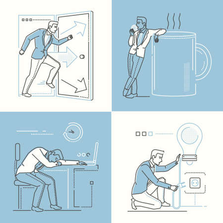 Office life - set of line design style illustrations on white and blue background. Images of a smart businessman rushing through the door, tired at the laptop, on a coffee break, having a bright idea Illustration