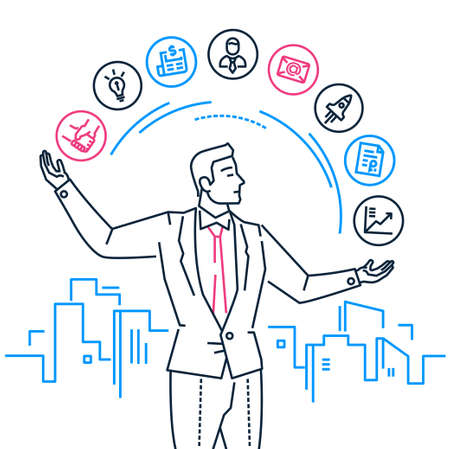 Time management - line design style illustration on white background with city silhouette. Metaphorical image of a smart young businessman having a lot of tasks, juggling with icons, planning his day