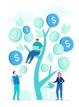 Financial success - flat design style illustration on white background. A composition with business team standing around a money tree, woman with a watering pot, a pile of coins. Man working at laptop