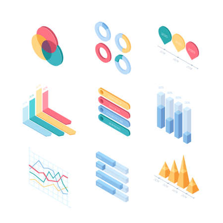 Infographic charts and diagrams - set of modern vector isometric elements