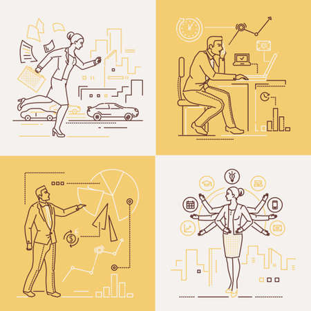 Business people - set of line design style illustrations