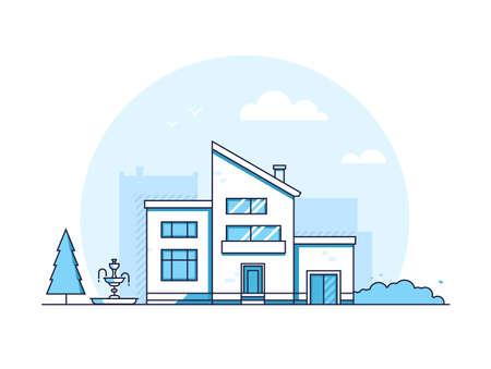 City building - modern thin line design style vector illustration