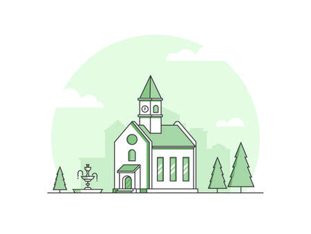 Small church - modern thin line design style vector illustration  イラスト・ベクター素材