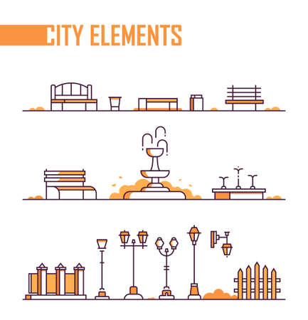 Set of city elements - modern line design style objects on white background. Different urban benches, fountains, street lanterns, trash cans, fence, gates. Nice orange color Archivio Fotografico - 112152970