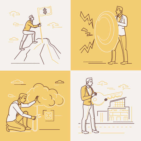Business strategy - set of line design style illustrations on white and yellow background. Four images of a businessman with a shield, key, climbing up a hill, turning on a cloud. Leadership concept