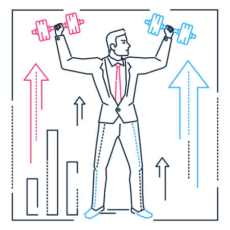 Businessman lifting bars - line design style illustration on white background. Metaphorical image of a confident manager, employee doing exercises. Power, problem solving, business growth concept