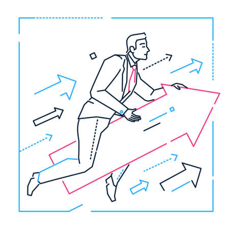 Target setting - line design style isolated illustration on white background. Metaphorical image of a businessman flying on an arrow. Goal, definition of objectives concept Illustration