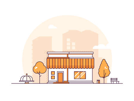 Small shop - modern thin line design style vector illustration