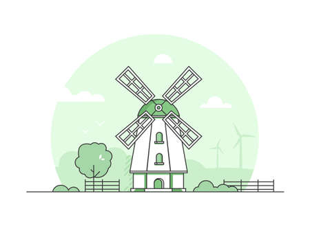 Eco farming - modern thin line design style vector illustration on white background. Green colored high quality landscape with a mill, tree, bushes, fence, windmills. Country life concept