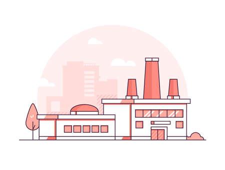 Fabbrica - illustrazione di vettore di stile di design moderno sottile linea Vettoriali