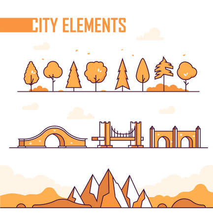 Set of city elements - modern vector isolated objects