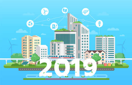 Modern eco city - colorful flat design style vector illustration on blue background. Skyscrapers, train, bins, solar panels, windmills, renewable energy, recycling infographic elements, 2019 year sign Stock Illustratie