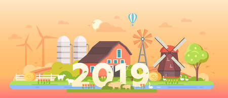 Countryside - modern flat design style vector illustration on orange background. Lovely peaceful landscape with a barn, silage tower, mill, farm animals, hat air balloon in the sky, 2019 year sign