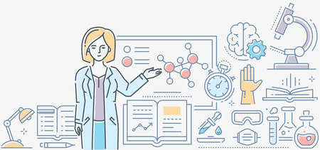 Chemistry lesson - colorful line design style illustration on white background. A composition with a female teacher standing at the board. Images of microscope, flasks, books, timer, pipette