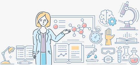 Leçon de chimie - illustration de style de conception de ligne colorée sur fond blanc. Une composition avec une enseignante debout au tableau. Images de microscope, flacons, livres, minuterie, pipette