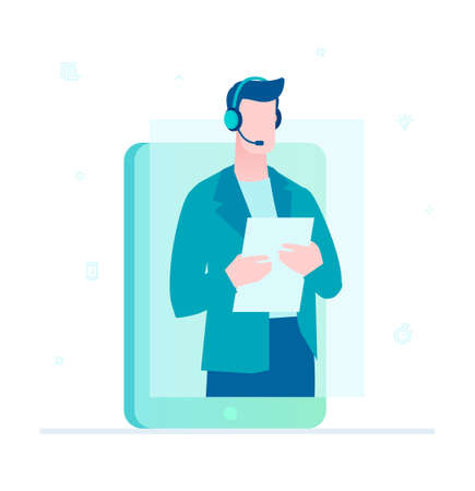 Call center operator - flat design style illustration on white background. Colorful composition with male employee in headset on a smartphone screen. Online technical support, mobile helpline concept