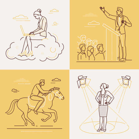 Business concepts - set of line design style illustrations on white, yellow background. Images of a woman and man. Public speech, performance, ambition, goal achievement, cloud computing themes