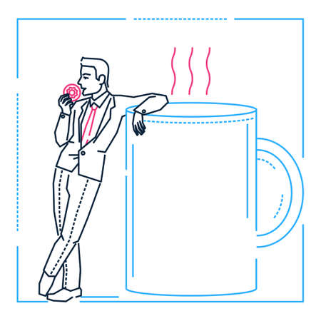 Businessman on a coffee break - line design style illustration on white background. Metaphorical linear image of a man eating a donut, resting on a big cup, enjoying himself. Lunch time concept