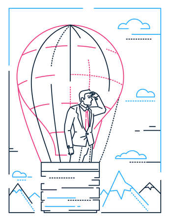 Businessman in a balloon - line design style illustration on white background with silhouettes of clouds, mountains, hills. A young male person dreaming, planning future, on the way to success