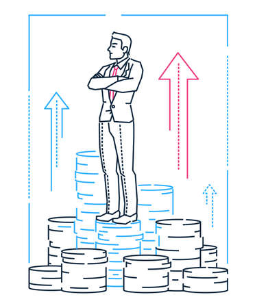 Businessman standing on coins - line design style illustration on white background. Metaphorical linear image of a man thinking about benefits and business development. Financial concept