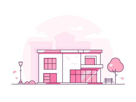 Mooi huisje - moderne dunne lijn ontwerp stijl vectorillustratie