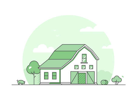 Village - modern thin line design style vector illustration on white background. Green colored high quality rural landscape with a barn, haystacks, tree, bush, pig. Eco, organic farming concept Stock fotó - 106161371