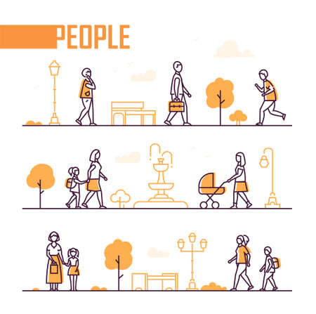 City life - set of line design style elements Illustration