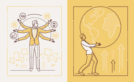 Hard working businessman - set of line design style illustrations on white and yellow background. Banners with businessman, manager, employee juggling tasks and carrying a globe. Multitasking concept
