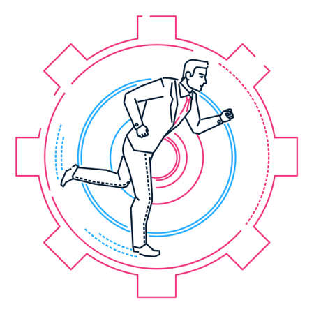 Businessman running in a gear - line design style illustration on white background. Metaphorical image of a young person going towards the aim. Effectiveness concept