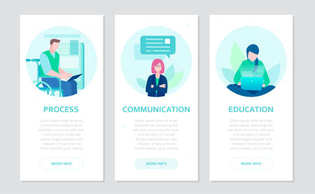 Effective work - set of flat design style banners on grey background with place for text. Process, communication, education concepts. Businesspeople at laptops. Image of disabled worker in wheelchair Çizim
