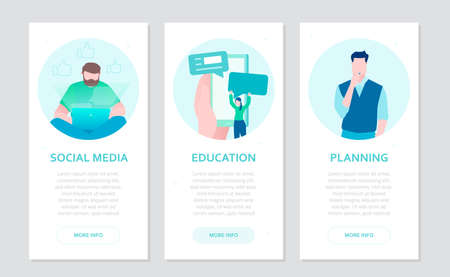 Social media - set of flat design style colorful banners on grey background with place for text. High quality composition with businesspeople working at laptop, chatting online in smartphone, planning Illustration