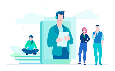 Technical support - flat design style illustration on white background. A composition with male call center operator in headset on a smartphone screen. Colleagues working with laptops and smartphones Ilustração
