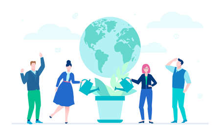 International project - flat design style illustration on white background. Colorful composition with cheerful team standing before a globe, watering the plant. Worldwide business, ecology concept