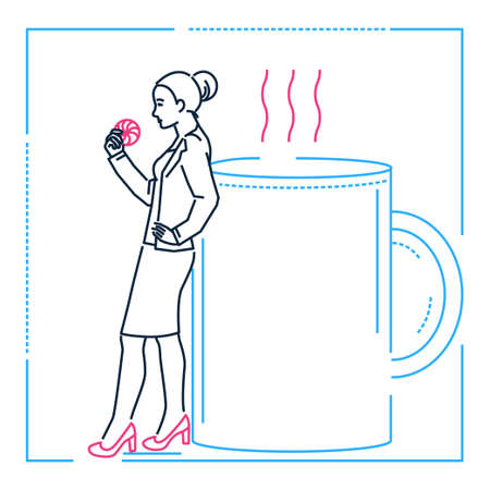 Businesswoman on a coffee break - line design style illustration on white background. Metaphorical linear image of a woman eating a cookie, resting on a big cup, enjoying herself. Lunch time concept Иллюстрация