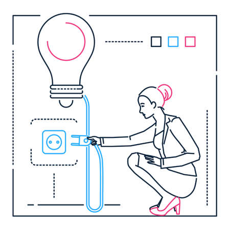 Businesswoman searching for ideas - line design style illustration on white background. Metaphorical linear image of a confident person, going to turn on a big lightbulb. Inspiration, creativity theme Illustration