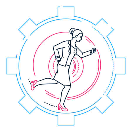 Businesswoman running in a gear - line design style illustration on white background. Metaphorical image of a young woman, girl, female going towards the aim. Effectiveness concept Illustration