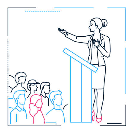 Businesswoman speaking from a platform - line design style illustration on white background. Metaphorical image of a woman, girl. female giving an inspiring speech before the audience
