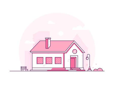 Nice house - modern thin line design style vector illustration Stock Illustratie