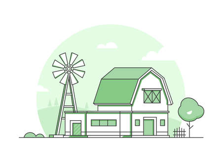 Country life - modern thin line design style vector illustration on white background. Green colored high quality landscape with a windmill, barn, tree, bush, fence. Eco farming concept