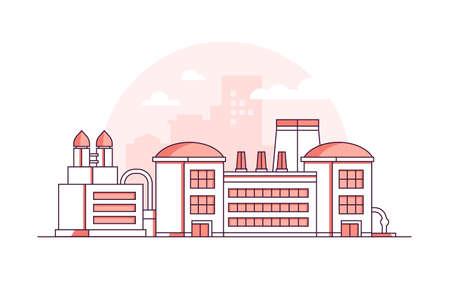Factory - modern thin line design style vector illustration Иллюстрация