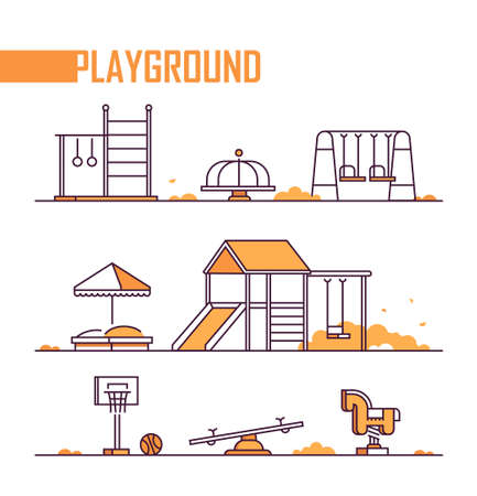 Set of playground elements - modern vector isolated objects Stock Illustratie