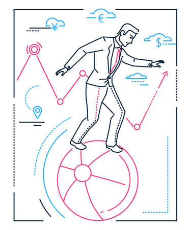 Businessman with balancing on a ball - line design style isolated illustration on white background. Metaphorical image of a smart male manager, employee dealing with problems. Multitasking concept  イラスト・ベクター素材