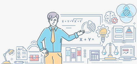 Algebra lesson - colorful line design style illustration on white background. A composition with a male teacher standing at the board showing formulas. Images of workplace, diagrams, scales