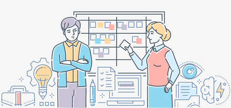 Time management - colorful line design style illustration on white background. Business colleagues discussing the tasks, plans, terms standing at kanban. Linear images of documents, lightbulb, brain
