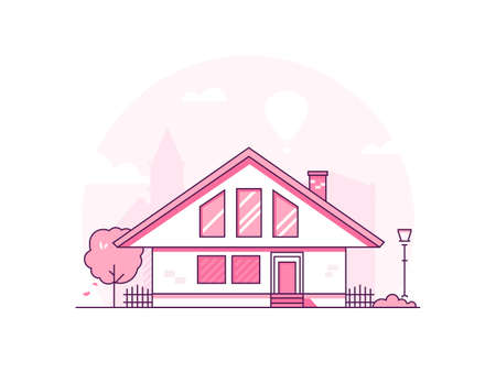 Townhouse - modern thin line design style vector illustration