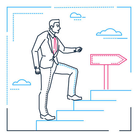 Businessman climbing a ladder - line design style illustration on white background. Metaphorical linear image of a young man walking upstairs, pursuing his goal, dreams. Personal development theme Ilustração